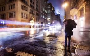 Picture road, lights, loneliness, rain, mood, Wallpaper, street, umbrella, wallpaper, male, America, new York, USA, new …