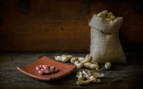 Picture walnut, plate, peanuts, pouch