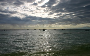 Picture sea, the sky, clouds, boats, the evening