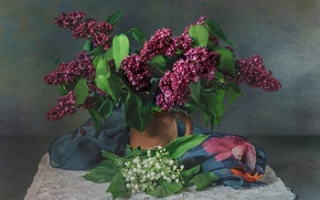 Picture texture, lilies of the valley, shawl, lilac