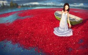 Picture water, girl, lake, berries, boat, anime, art, yoshida seiji