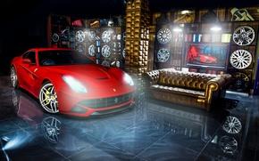 Picture red, reflection, sofa, Ferrari, red, Ferrari, drives, Berlinetta, F12, Kahn Design