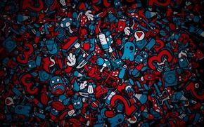 Wallpaper Faces, Syringe, Piling up, Figures