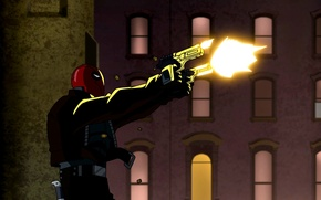 Picture guns, shooting, Red hood