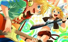 Picture girl, headphones, guy, vocaloid, bow, kagamine rin, Vocaloid, kagamine len