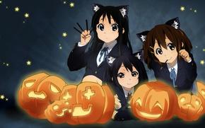 Picture mood, anime, pumpkin, mio akiyama, k-on, hirasawa yui, nakano azusa, Halloween