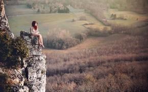 Picture landscape, rock, redhead, Lorène, nature.view