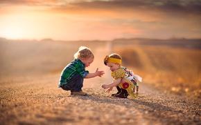 Picture road, boy, girl, smile, bokeh