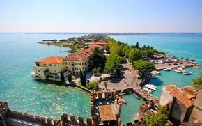 Wallpaper island, Italy, panorama, Italy, Lombardy, Lombardy, Garda, Sirmione, Lake Garda, Sirmione