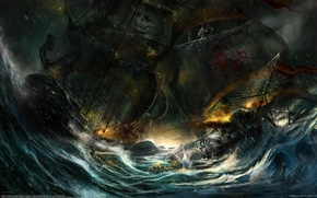 Picture sea, ships, boats, the battle, sailboats, frigates, Artem Borisov