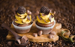 Picture coffee, chocolate, grain, candy, spoon, hearts, cream, dessert, sweet, cupcakes, Anna Verdina