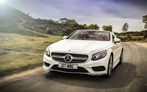 Picture road, car, auto, Mercedes-Benz, white, road, speed, Cabriolet, S 500, AMG line