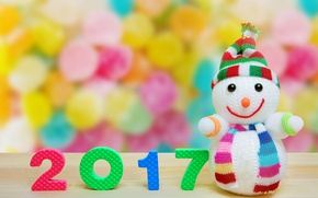 Picture christmas, new year, snowman, 2017