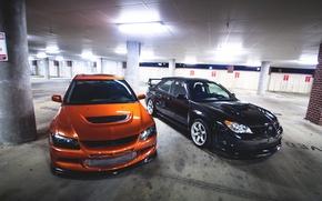 Picture Tuning, Lancer, Parking, Orange, Evolution, subaru, STI, Black, Evo, the front, Low, Mitsubishi