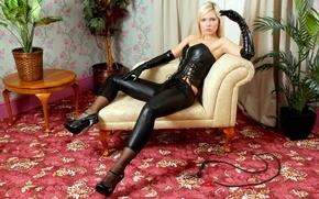 Picture wallpaper, wall, black, jenni kohoutova, legs, beautiful, model, chair, leather, lips, face, nude, blonde, hands, …