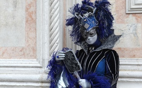 Picture feathers, mirror, mask, costume, Venice, carnival
