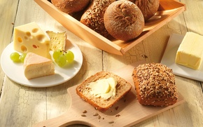 Picture oil, food, cheese, bread, grapes, Board, seeds, sesame, buns