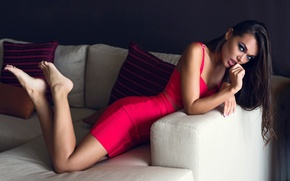 Picture makeup, legs, in red, Chromatropic