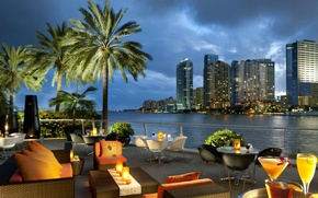 Picture the city, palm trees, the ocean, Bay, cafe, USA, Miami, tables, FL, miami