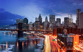Picture winter, the city, lights, New York, the evening, USA, Manhattan