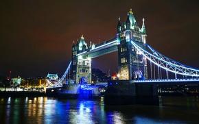 Picture night, bridge, lights, river, England, London, Thames, Tower Bridge