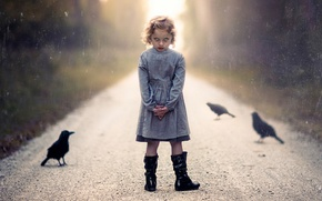 Picture road, girl, Halloween, crows