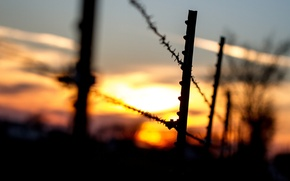 Picture macro, sunset, background, widescreen, Wallpaper, black, the fence, rope, silhouette, the fence, wallpaper, widescreen, background, …
