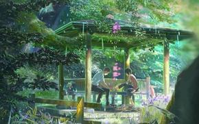 Picture girl, trees, flowers, umbrella, anime, Japan, garden, shoes, characters, guy, Makoto Xingkai, Kotonoha no Niwa, …