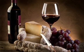 Picture Parmesan, bottle, glass, wine, red, cheese, knife, sausage, grapes