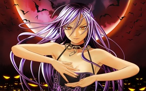Picture eyes, girl, the moon, bats, akashiya moka, rosario+vampire