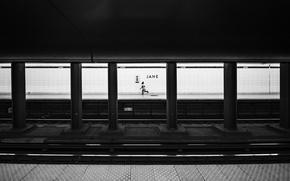 Picture underground, child, black and white, metro, rails, b/w, columns, sub train, lanes