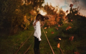 Picture bokeh, hair, girl, the wind, autumn, leaves