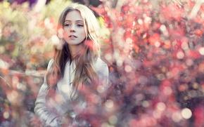 Picture autumn, look, leaves, portrait, Russia, bokeh