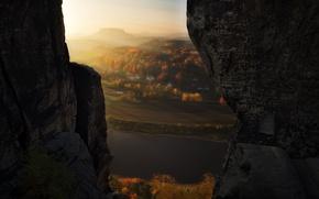 Picture light, rocks, view, valley, haze