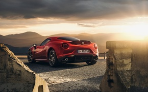 Picture Red, Car, Sunset, Sport, Launch Edition, Rear, 2015, Alfa-Romeo
