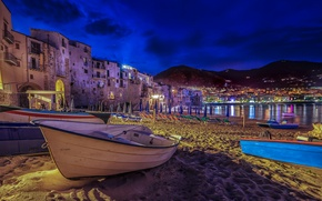 Wallpaper sand, beach, night, lights, boat, home, Italy, Sicily, Cefalu