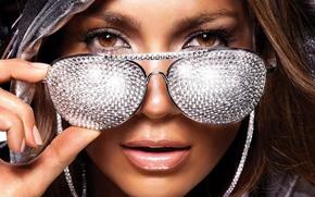 Wallpaper portrait, glasses, diamonds