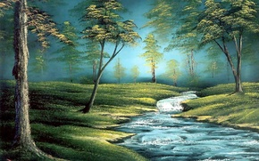Picture forest, grass, water, trees, landscape, stream, picture, painting, Bob Ross, Bob Ross