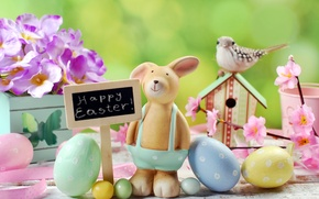 Wallpaper flowers, eggs, spring, Easter, flowers, spring, Easter, eggs, decoration, Happy