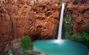 Picture mountains, nature, river, waterfall, Arizona, Grand Canyon, Hava-sui Falls, Havasupai Indian Reservation