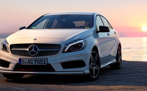 Picture Sunset, White, Machine, Mercedes, Mercedes, Car, 2012, Car, AMG, White, Package, Wallpapers, New, Beautiful, Sport, ...