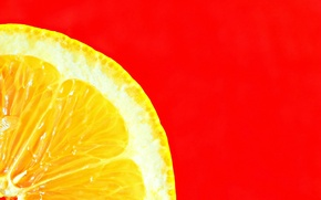 Wallpaper minimalism, slice, lemon, macro, red background