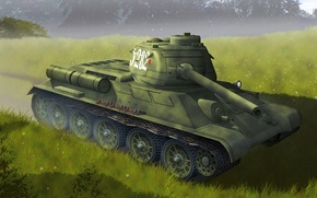Picture technique, tank, the arms of the USSR, T-34-85