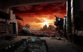 Picture the wreckage, sunset, the city, the plane, art, ruins, postapokalipsis, abandonment, terminal