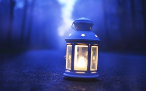 Picture road, forest, lamp, bokeh
