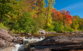 Picture autumn, forest, the sky, trees, river, stones, rocks