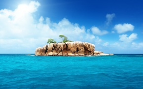 Picture the ocean, island, the sky, landscape, nature