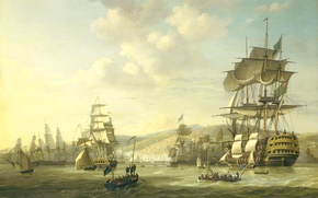 Picture picture, seascape, Nicolaas Baur, The Anglo-Dutch Fleet in the Bay of Algeria