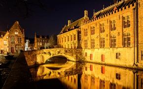 Picture night, bridge, lights, home, channel, Belgium, Bruges