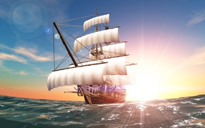 Picture sea, the sun, ship, sails, swimming, course